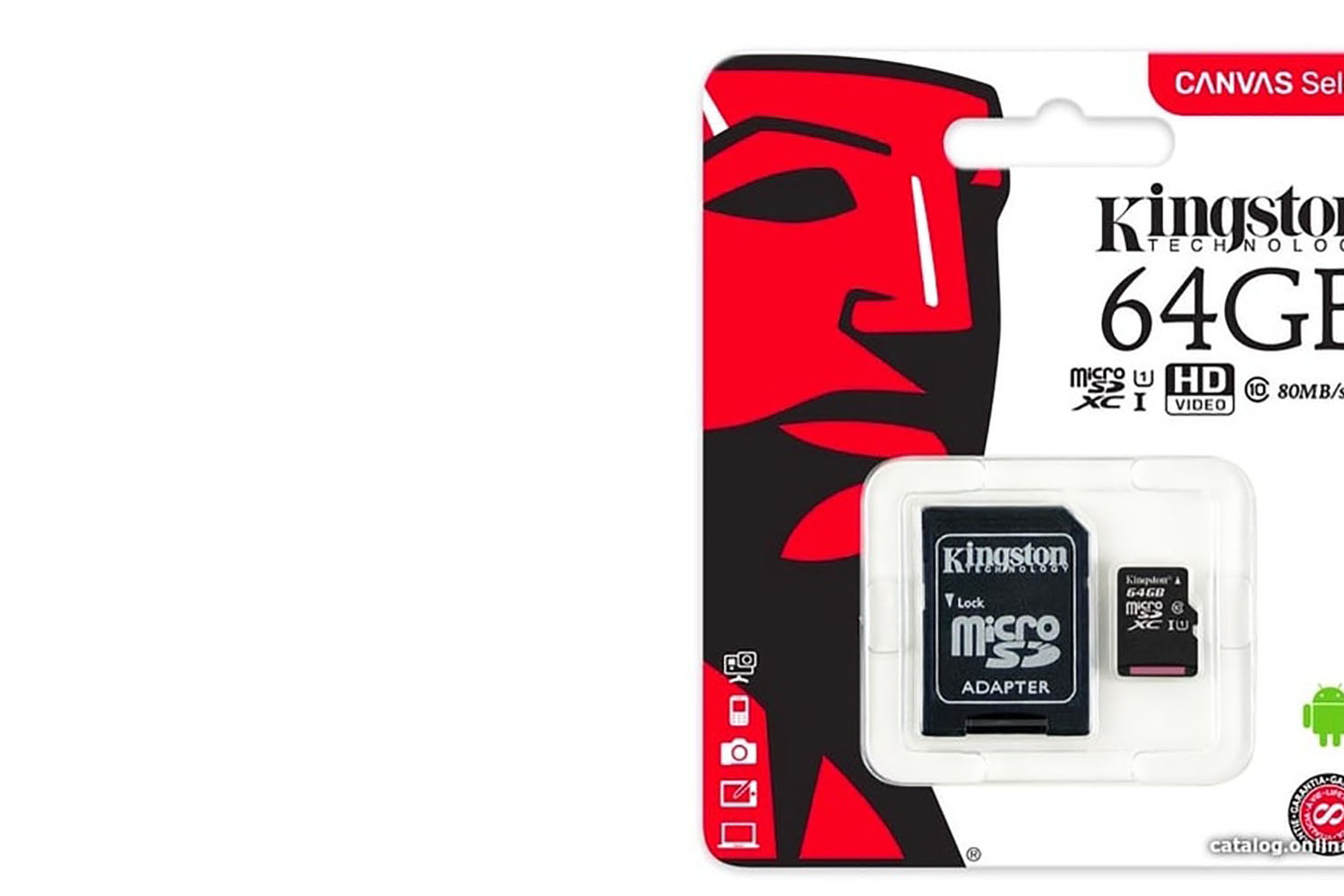 Карта памяти MicroSD 64GB Kingston Class 10 Canvas Select Plus A1 (100 Mb/s) с адаптером