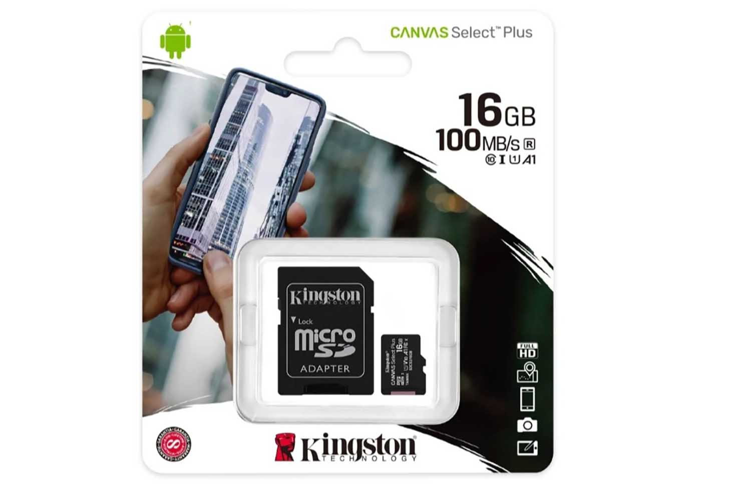 Карта памяти MicroSD 16GB Kingston Class 10 Canvas Select Plus A1 (100 Mb/s) с адаптером